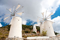 Windmills on Lasithi Plateau, Crete  Greece Stock Image
