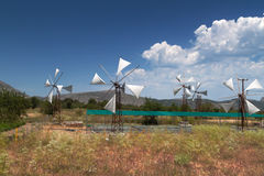 Windmills of Lasithi Plateau on  Greece Stock Images