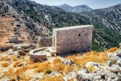 Windmills of the Lasithi plateau, Crete - Greece Stock Photo