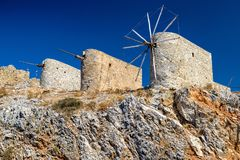 Windmills of the Lasithi plateau, Crete - Greece Stock Images