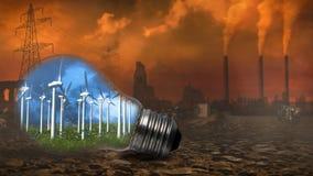Windmills in Light Bulb with Distant Smokestacks 4K Loop