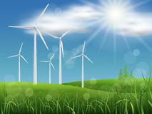 Windmills on the meadow Stock Image