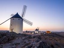 Molinos in Consuegra, Castilla La Mancha, Spain. Windmills molinos in Consuegra, Toledo Province, Castilla La Mancha, Spain, at night stock photo