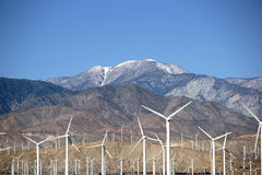 Windmills of Mount San Jacinto. A wind turbine park in front of the the San Jacinto Peak or Mount San Jacinto near Palm Springs Stock Image