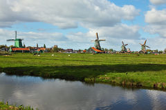 Windmills in museum village in Holland. Stock Photos