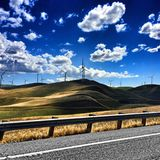 The windmills of my mind. Traving through the hills of northern california Stock Image