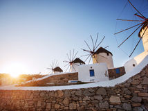 Windmills of Mykonos. Famous windmills in Mykonos Island, Greece Stock Photo