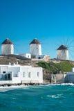 Windmills of Mykonos Stock Photo