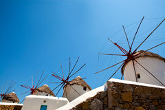 Windmills in Mykonos, Greece Royalty Free Stock Image