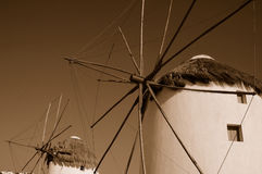 Windmills in Mykonos, Greece Stock Photos