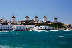 Windmills in Mykonos, Greece. The panorama of the old part of the town and the old windmills in Mykonos, Greece. View from above Stock Photography