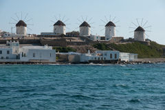 Windmills in Mykonos Stock Image