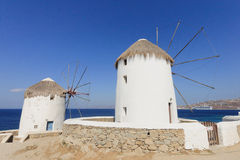 Windmills in Mykonos Stock Images