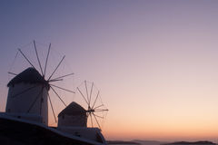 Windmills in Mykonos Stock Photography