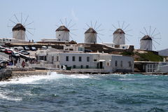 Windmills on Mykonos island in Greece Royalty Free Stock Images