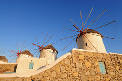 Windmills at Mykonos island Greece Royalty Free Stock Images