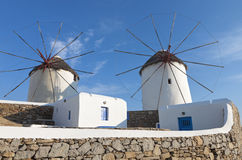 Windmills of Mykonos island in Greece Stock Images