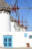 Windmills in Mykonos Island Stock Images