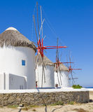 Windmills on Mykonos - known place of the island Royalty Free Stock Images
