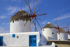Windmills in Mykonos town, Greece Royalty Free Stock Image