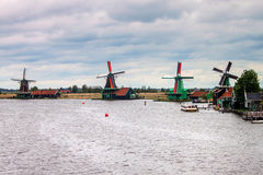 Windmills near Zaanse Schans Royalty Free Stock Photography