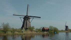 Windmills in netherlands stock video footage