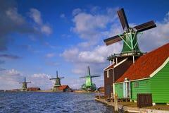 Windmills at Netherlands. Colourful Windmills at Zaanse Schans, Netherlands Stock Photos