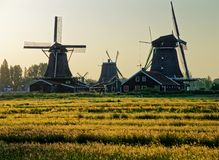 Windmills in the Netherlands - the same ones that served the great Dutch landscape painters for their wonderful works of art. There are still remarkably Royalty Free Stock Photos