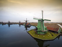 Windmills in The Netherlands - symbol of the country. Stock Image
