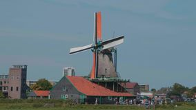 Windmills in the Netherlands - typical view in Holland - Amsterdam - The Netherlands - July 19, 2017 stock video