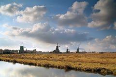 Windmills at Netherlands. Zaanse Schans Windmills, Zaanstad, Netherlands Stock Image