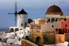 Windmills of Oia Village at Sunset, Santorini, Greece Royalty Free Stock Images