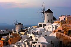 Windmills of Oia Village at Sunset, Santorini, Greece Stock Photography