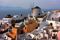 Windmills of Oia Village at Sunset, Santorini, Greece Royalty Free Stock Photography