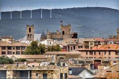 Windmills. Olite fields, Spain. View of the Olite fields with the windmills in the hills. Taked from the Olite Castle. Navarra, Spain Royalty Free Stock Photos