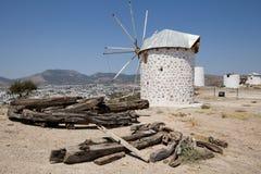Windmills overlooking Bodrum and Gumbet stock image