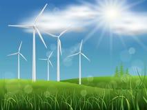 Windmills på ängen Fotografering för Bildbyråer