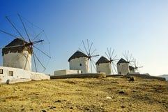 Windmills på Mykonos Arkivbilder