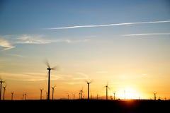 Windmills på soluppgången Royaltyfri Foto