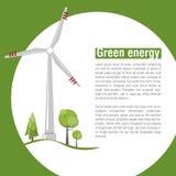 Windmills på soluppgången Grön energi förnybar energi stock illustrationer