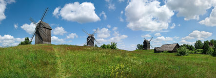 Windmills panorama Royalty Free Stock Images