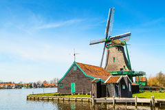 Windmills panorama in Zaanse Schans, traditional village, Netherlands, North Holland Stock Photo