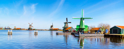 Windmills panorama in Zaanse Schans, traditional village, Netherlands, North Holland Stock Photos