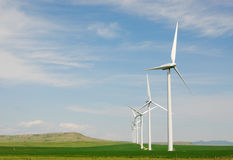 Windmills on plain Royalty Free Stock Photography