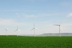 Windmills on plain stock photos