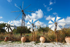Windmills on the plateau of Lassithi Stock Image
