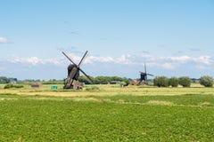Windmills in polder, Netherlands. Polder with two hollow post windmills near Almkerk in Brabant, Netherlands stock image