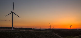 Windmills power generation evening sky landscape Stock Photography