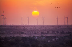 Windmills power supply in India Stock Images