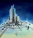 Windmills powered futuristic city at night Stock Photo
